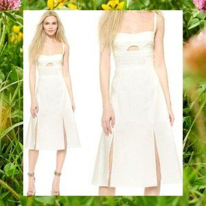 TIMO WEILAND Ivory Cotton Cut out Midi Dress XS